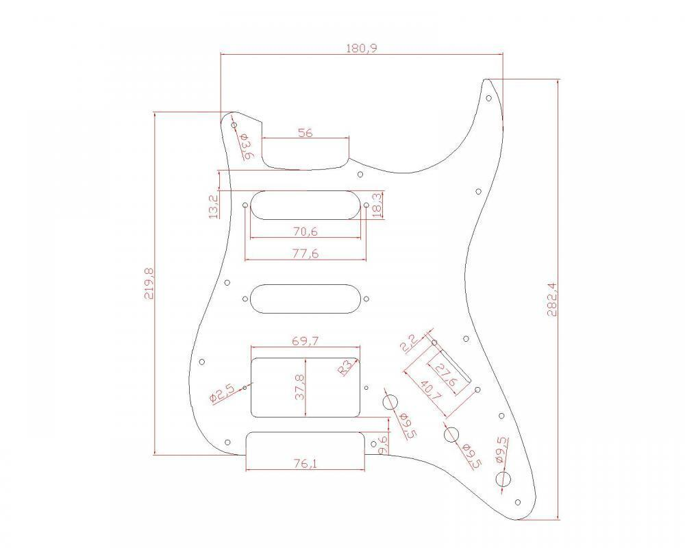 Guitar Pickguard Scratch Plate For Strat Style Black And