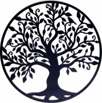 Black Tree of Life Metal Hanging Wall Art *99 Cm Round ...