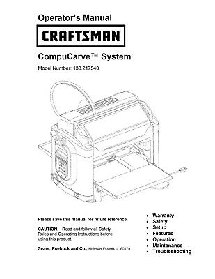 Sears Craftsman Compucarve System (CNC router) Operator