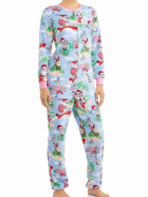 santa claus tiki surf drop seat women s xl 16 18 one piece christmas sleepwear