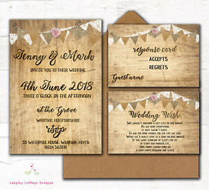 Details About Personalised Wedding Invitations Rustic Wood Effect Rose Lace Bunting 10