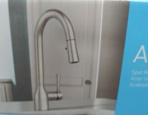 details about moen adler spot resist stainless one handle pulldown kitchen faucet 87233srs