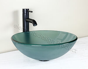 details about bathroom frosted green glass vessel vanity sink bronze faucet drain 12 2fe3