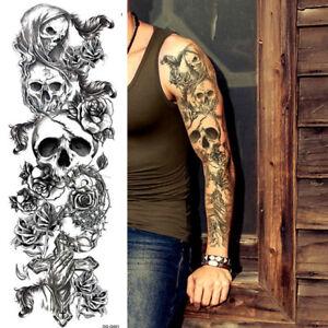 Skulls Roses Temporary Tattoos Sleeve For Women Men Full Arm Adult