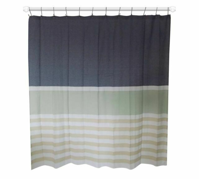 threshold textured stripe indigo fabric shower curtain 72x72