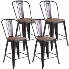 Rustic Metal Kitchen Chairs Childrens Table And Chair Sets Copper Set Of 4 Wood Counter Stool Dining Bar Details About New
