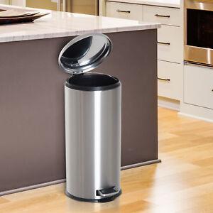 details sur pied poubelle a pedale metalliques en acier inoxydable dechets ordures couvercle cuisine poubelle 30 l afficher le titre d origine