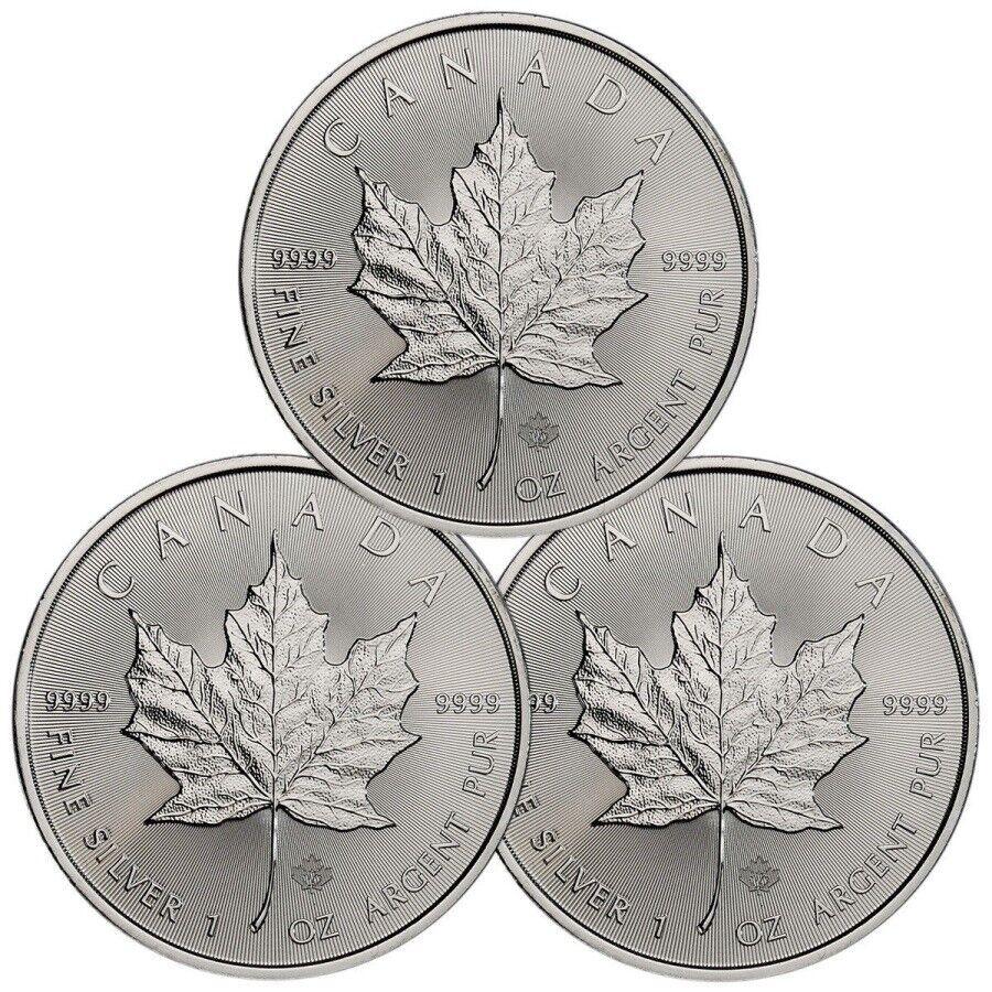 3 x 1 oz. Feinsilber 999.9 Kanada -5 CAD- ***Maple Leaf*** 2020 – stgl./BU