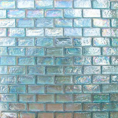 sample 1x2 aqua blue iridescent brick glass mosaic for wall and pool tile ebay