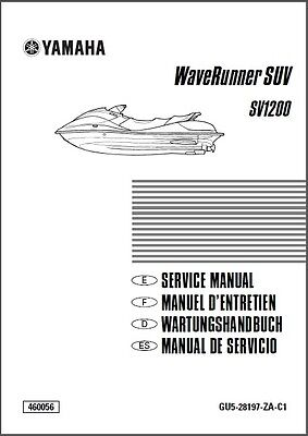 Yamaha WaveRunner SUV SV1200 Service Repair Manual CD