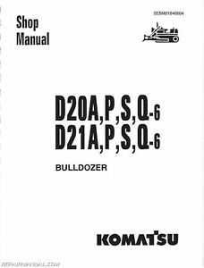 Komatsu D20 D21 D31 D37 CHASSIS ONLY Service Manual : JS