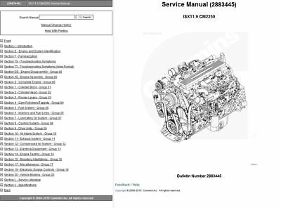 Cummins Signature ISX 11.9 2883445 CM2250 Engine Service