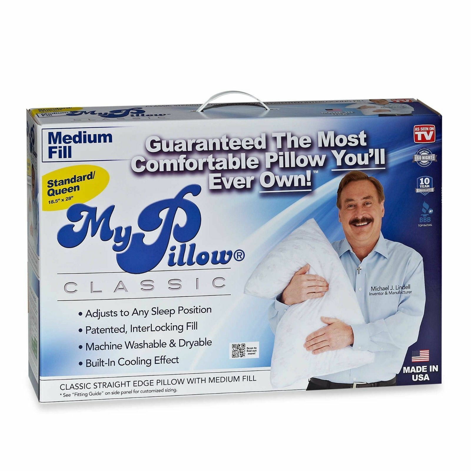 mypillow inc queen size classic series bed pillow white