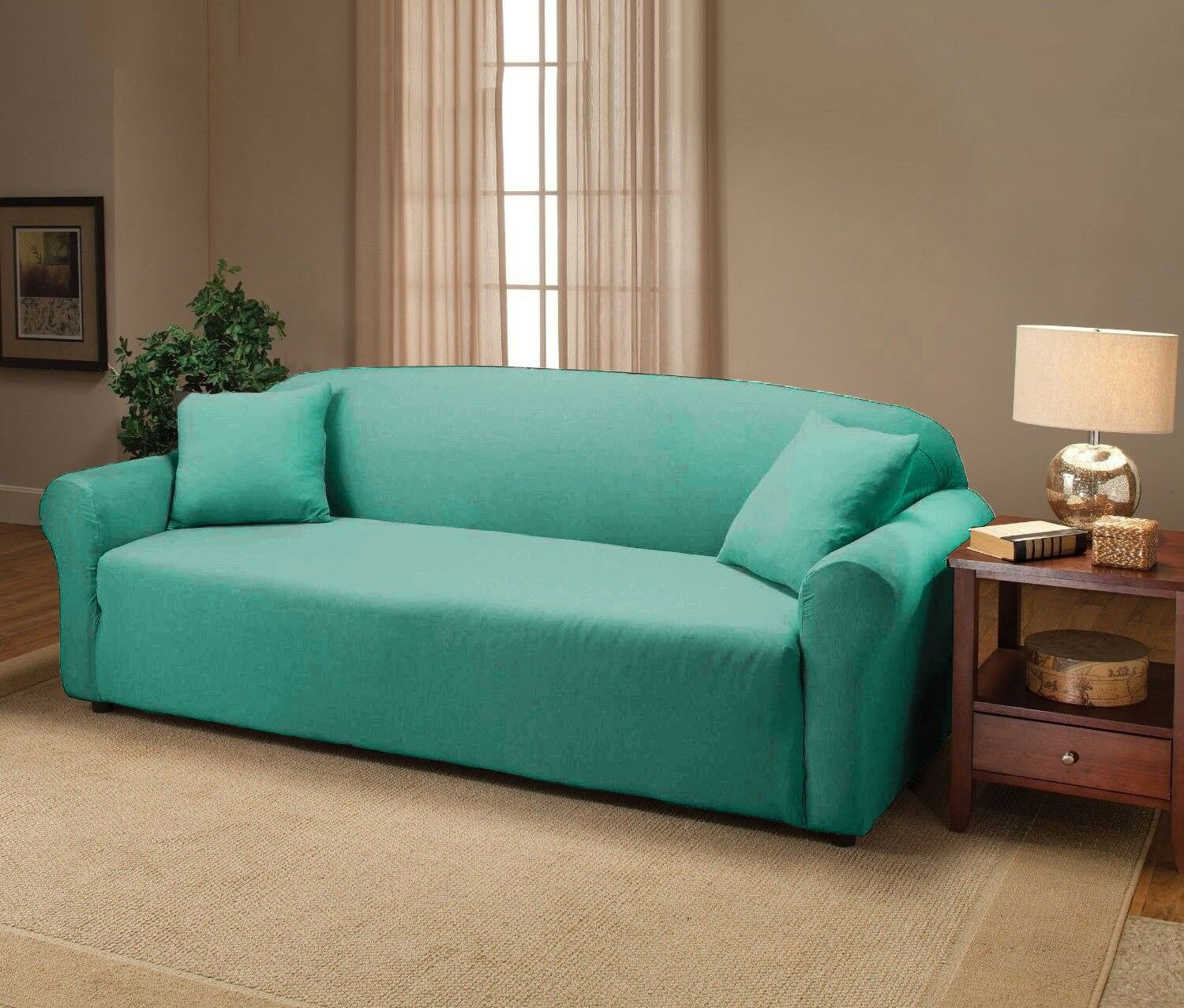 AQUA JERSEY SOFA STRETCH SLIPCOVER COUCH COVER CHAIR