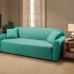 Chair Covers Sofa Ikea Computer Aqua Jersey Stretch Slipcover Couch Cover