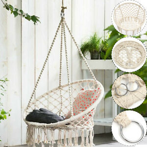 hammock chair swings covers for hire roodepoort beige hanging cotton rope macrame swing outdoor home image is loading