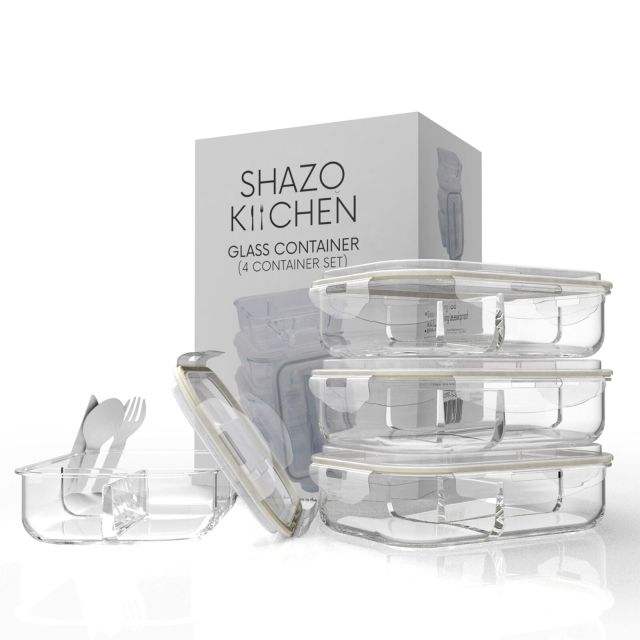 Shazo [4-Pack, 32oz] 3 Compartment Food Storage Glass Container Set, Airtight... 2