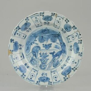 Antique Chinese porcelain 16th C Porcelain Ming 2 Deer Wanli Plate Unusual