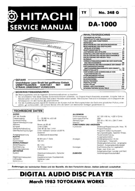 Service Manual Manual For hitachi DA-1000 Full, 140 Pages