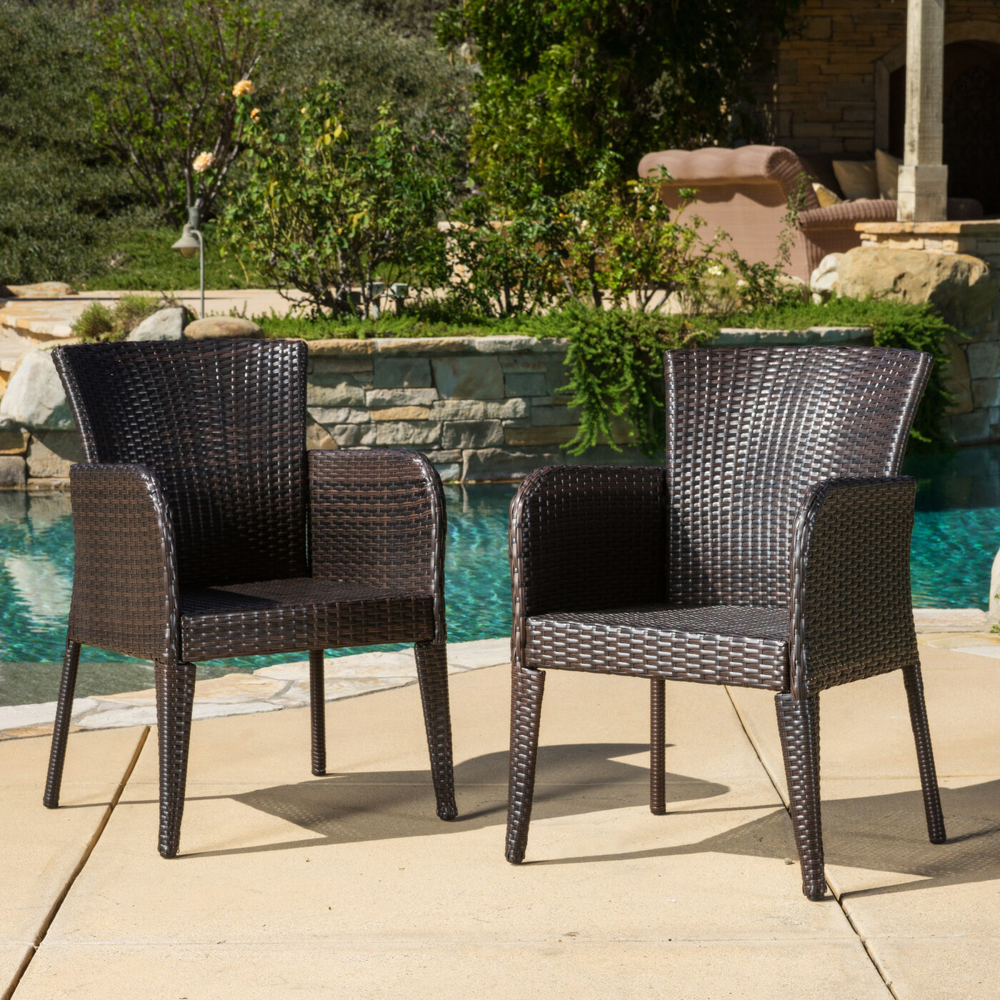 Wicker Patio Chair Outdoor Patio Set Modern Rattan Bistro Contemporary Wicker