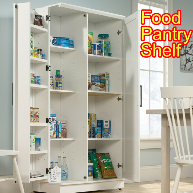 Kitchen Pantry Storage Cabinet Tall 5 Shelf 4 Door Food Wood Organizer Furniture For Sale Online Ebay