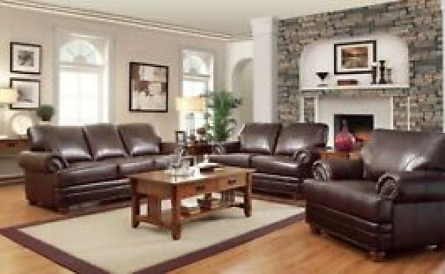 Traditional Brown Bonded Leather Sofa Loveseat Chair 3