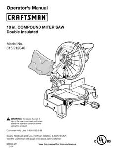 Craftsman 315.212040 Miter Saw Owners Instruction Manual