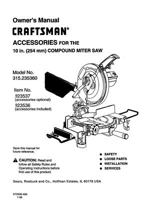 Craftsman 315.235360 Miter Saw Owners Instruction Manual