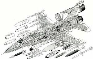 F16 Fighting Falcon * 13 x 19 MATTE B&W Line Drawing Print
