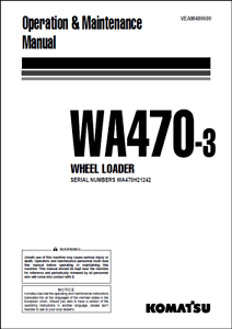 Komatsu WA470-3 operación Cargador De Rueda & Manual de