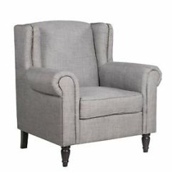 Fabric Accent Chairs Living Room Design Tables Victorian Chair Armchair W Nailhead Trim Image Is Loading