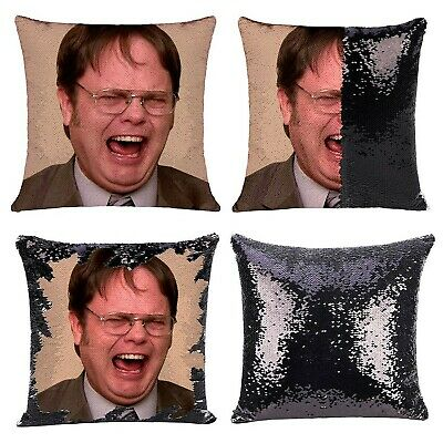 the office throw pillow cover dwight schrute mask sequin pillowcase black sequin ebay