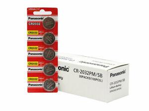 Panasonic CR2032 3V Lithium Coin Cell Box of 100 Batteries FRESH! Expires 2029   eBay