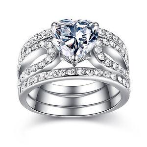 3 Piece Stainless Steel Heart Shape CZ Wedding Engagement