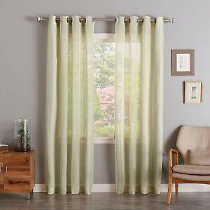 WAREHOUSE SALE Faux Linen Mesh Stripe Curtain Set EBay