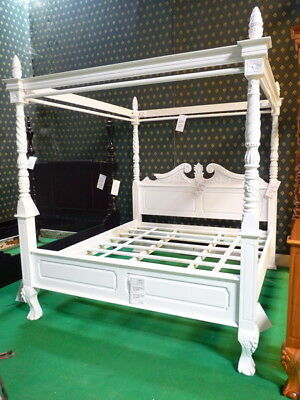 6 super king size white queen anne style four poster mahogany designer bedframe