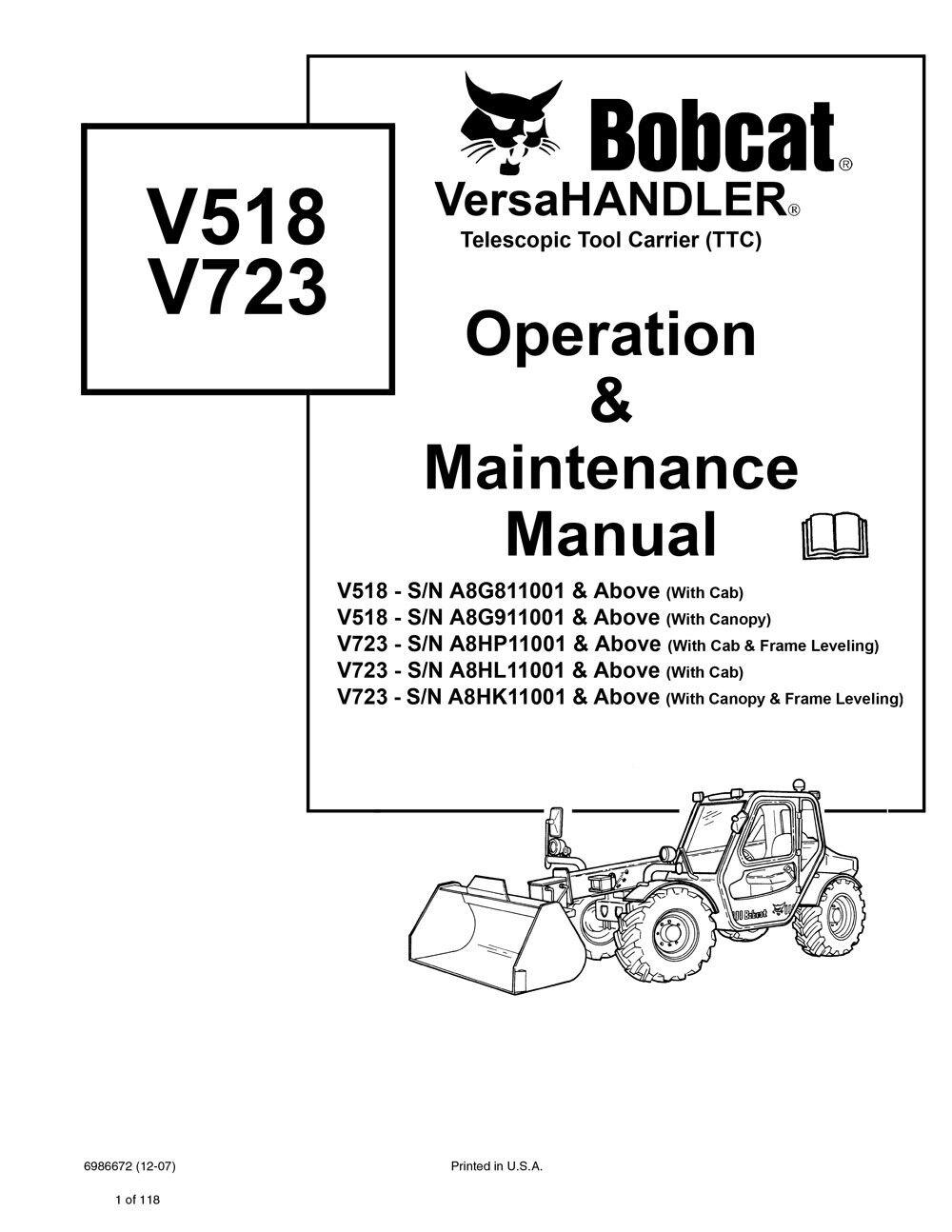 Bobcat V723 Versahandler Telehandler 2010 Edition Repair