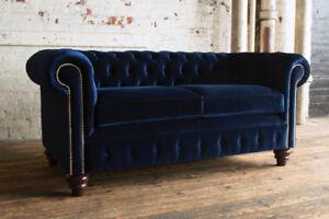blue velvet chesterfield sofa modern sleeper full size traditional handmade 3 seater plush navy image is loading