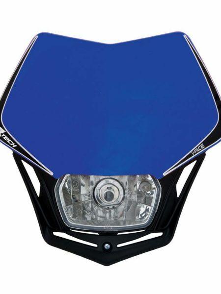 Mascherina portafaro moto cross enduro V-Face blu Racetech fanale faro a V RTech