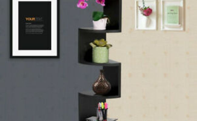 Black Large Corner Mdf Zig Zag Wall Shelf Finish Storage