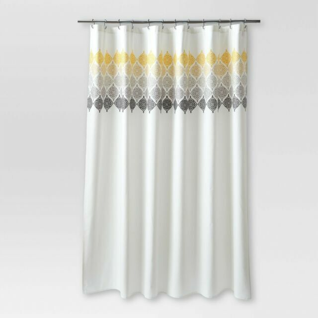 threshold ombre medallion shower curtain cream with gold gray embroidery j3