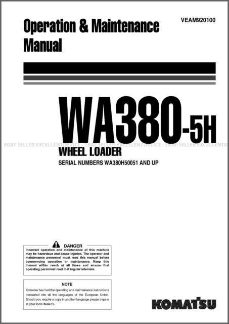 Komatsu WA380-5h Wheel Loader Printed Operation