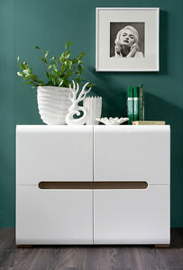 white gloss living room furniture lamps for rooms sideboard dresser buffet 4 door cabinet modern image is loading