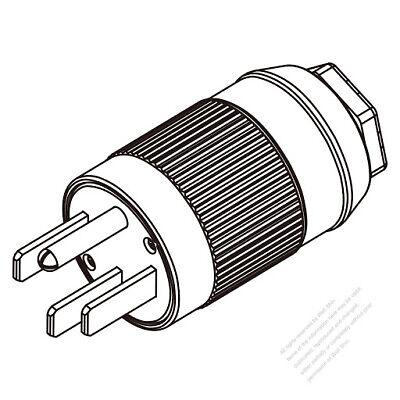 USA/Canada RV Plug (NEMA 14-50P) 4-Pin Straight, 3 P, 4