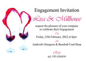 details sur vin rouge coeurs fiancailles cartes d invitation 50 invite afficher le titre d origine
