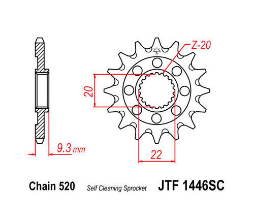 JT Self Cleaning Front Sprocket 520 13T fits Kawasaki
