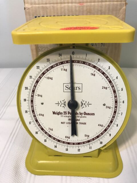 sears kitchen high chairs vintage yellow scale model 1906 ebay retro 11 kilo 25 lb capacity w box