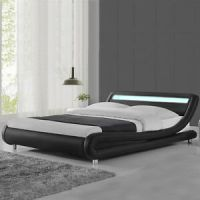 Modern Designer LED Lights Low Bed Frame Black/White ...