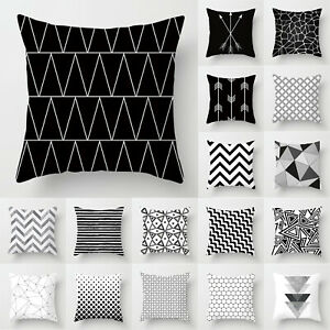 details about black white geometric throw pillow case sofa car cushion cover bedroom decor