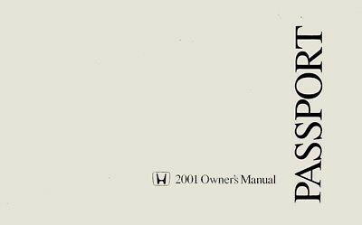 2001 Honda Passport Owners Manual User Guide Operator Book